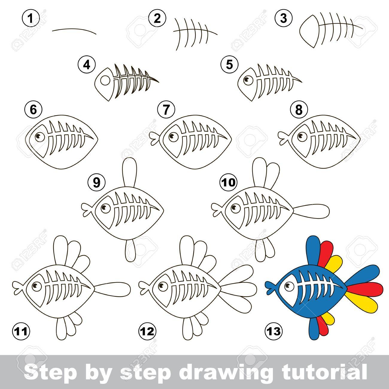 Zeichnung Tutorial Für Kinder. Wie Die Lustige Röntgen Fisch Zu ...