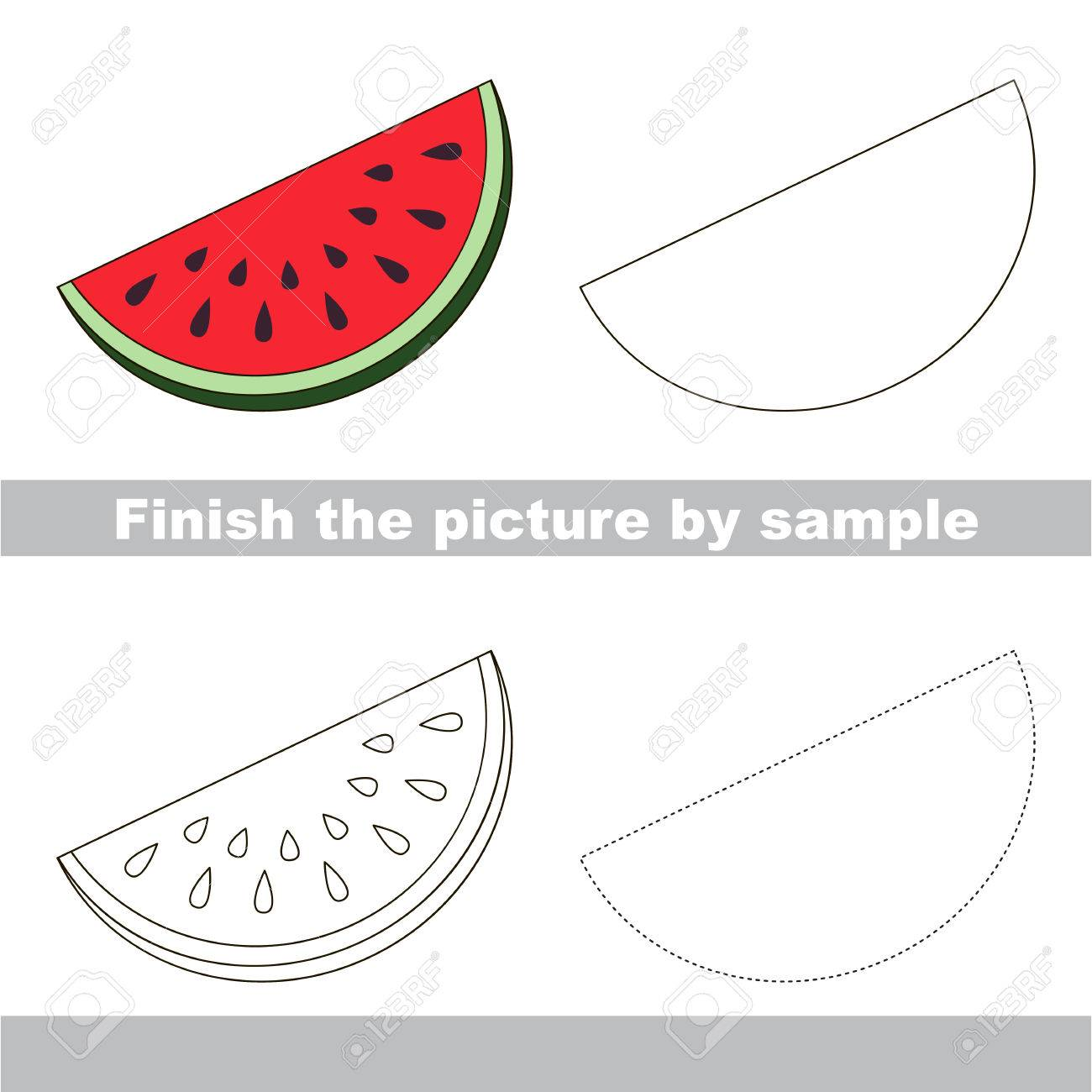 Drawing worksheet for children finish the picture and draw the cute slice of watermelon stock