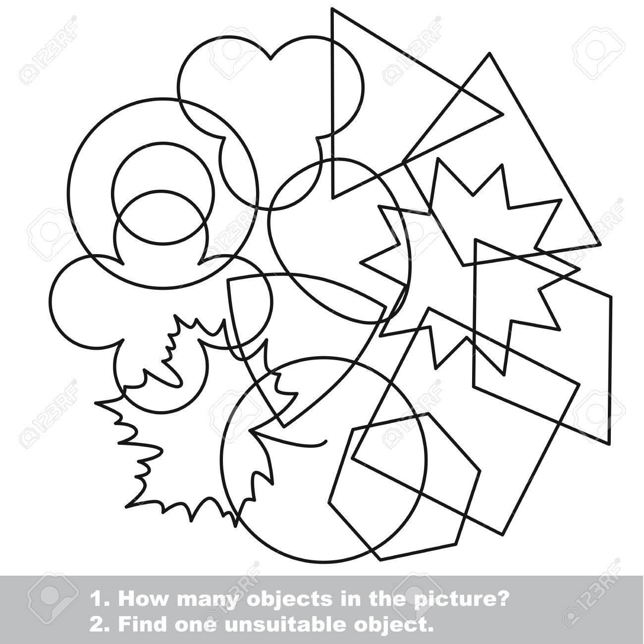 Las Formas Geométricas Mishmash Establecen En El Vector Se Indica A Colorear Encuentra Todos Los Objetos Ocultos En La Imagen Juego Visual Para Los