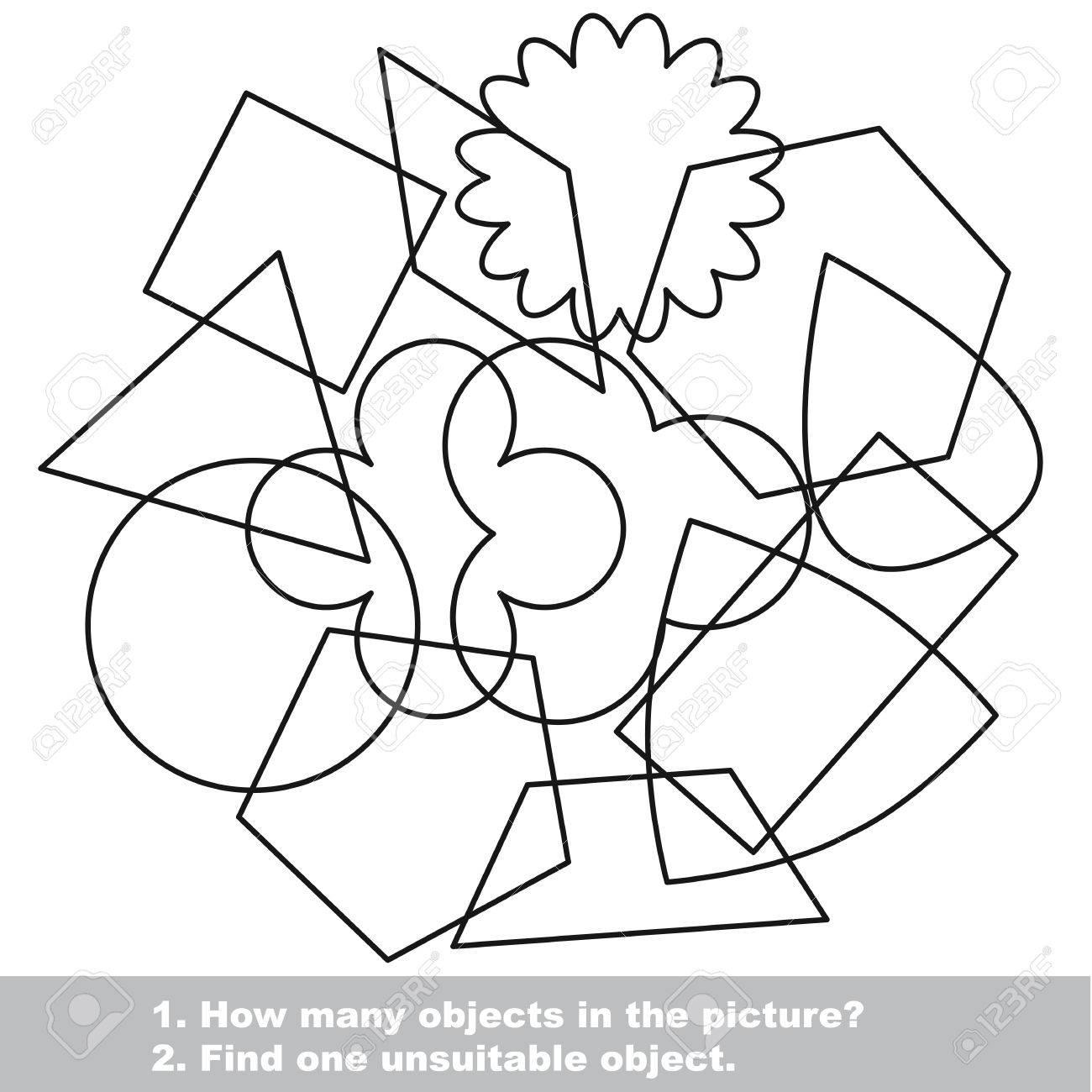 Formas Geométricas Simples Mishmash Establecen En El Vector Se Indica A Colorear Encuentra Todos Los Objetos Ocultos En La Imagen Juego Visual Para