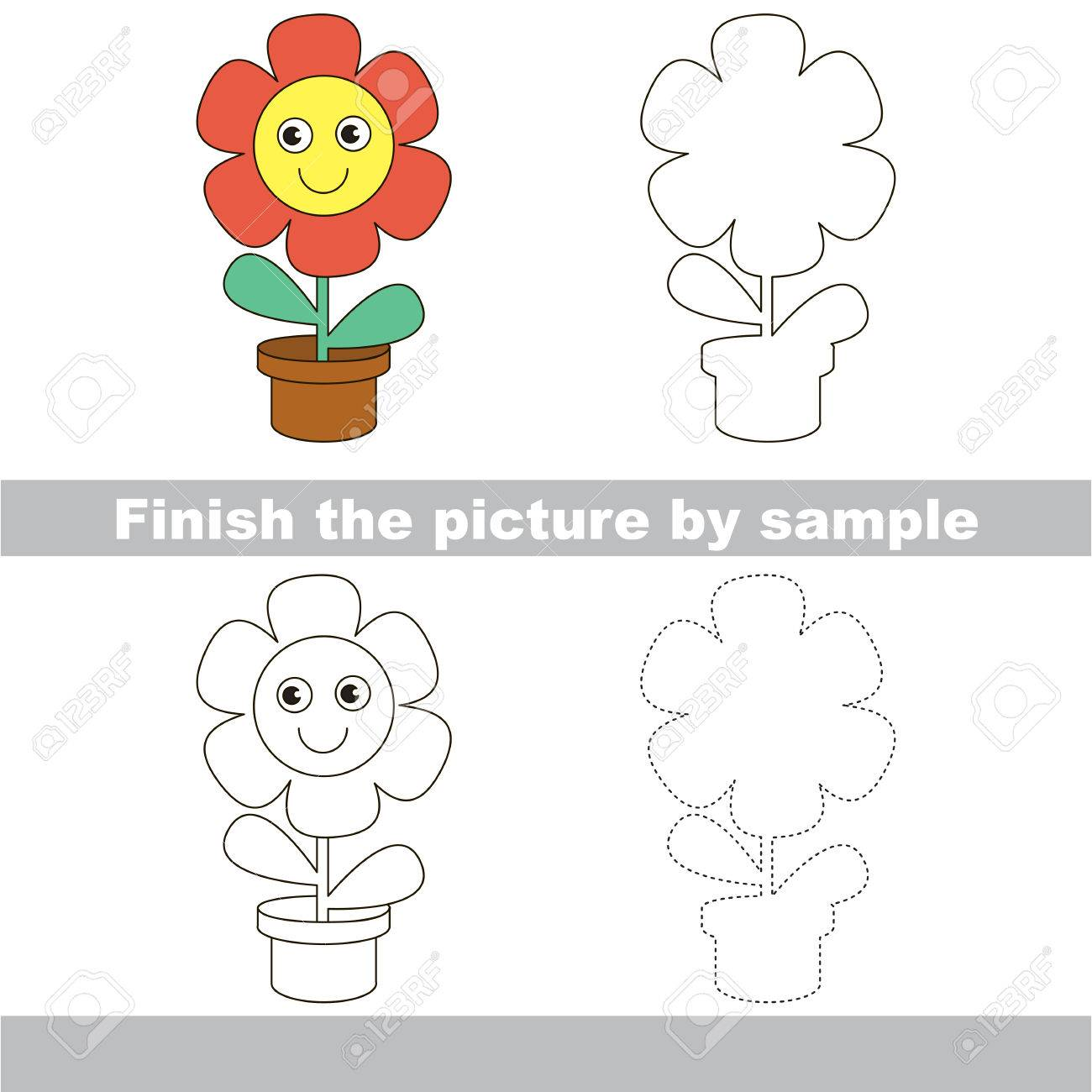 worksheet Flower Worksheet drawing worksheet for children finish the picture and draw cute flower stock vector