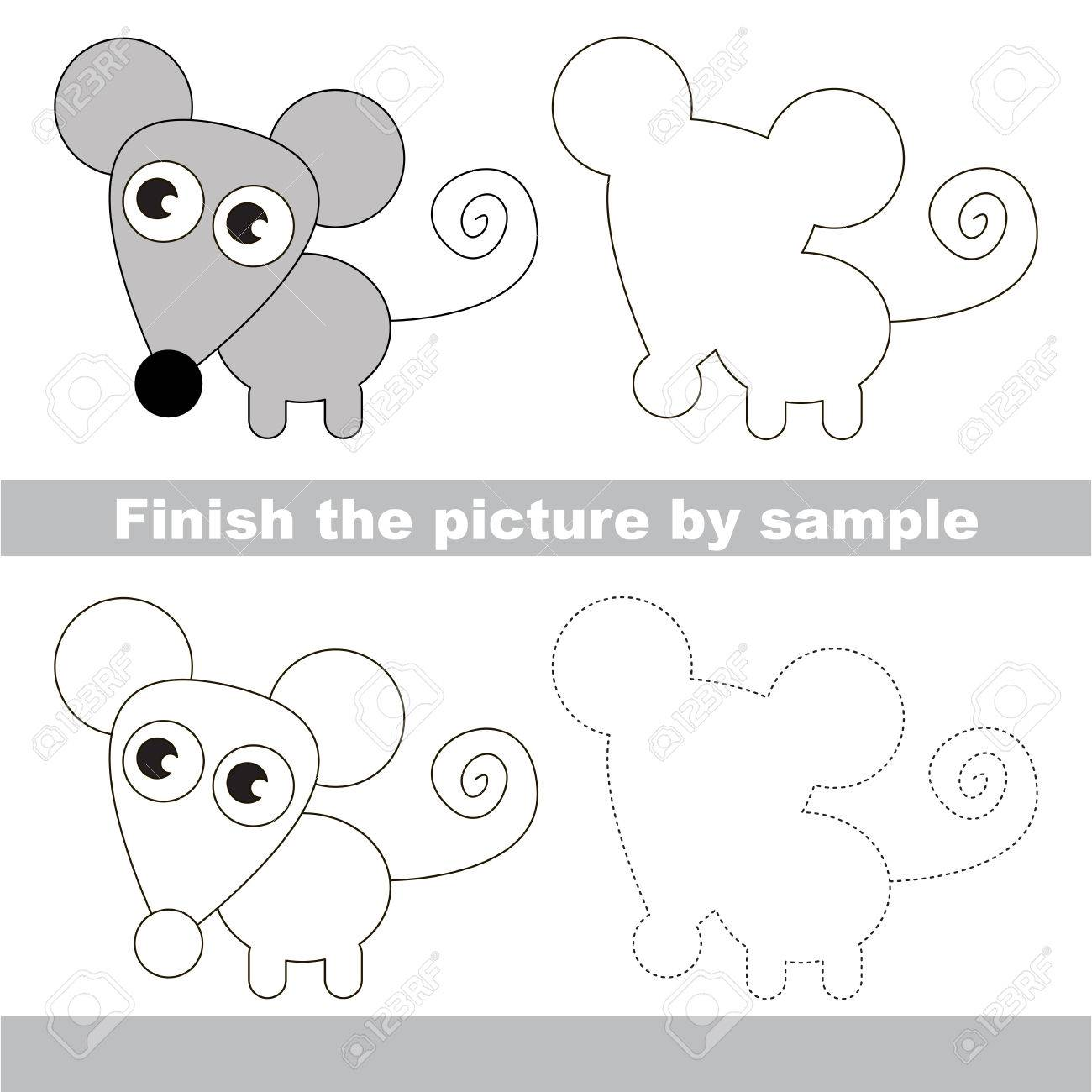 drawing worksheet for children finish the picture and draw the cute mouse stock vector - Children Drawing Sheets