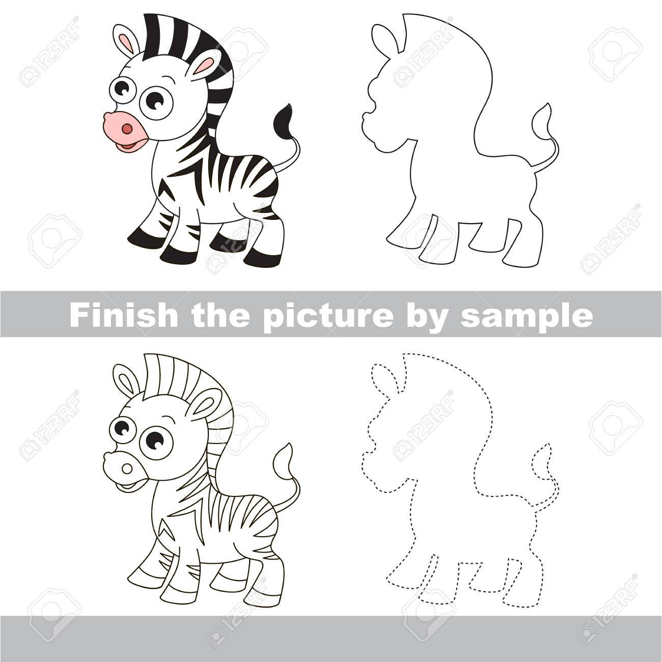 drawing worksheet for children finish the picture and draw the cute zebra stock vector - Children Drawing Sheets