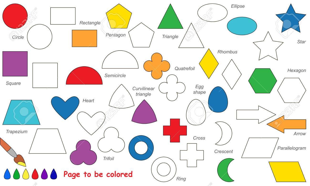 Ensemble De Formes Geometriques Simples A Colorier Livre De Coloriage Pour Les Enfants Jeu Visuel Clip Art Libres De Droits Vecteurs Et Illustration Image 55761342