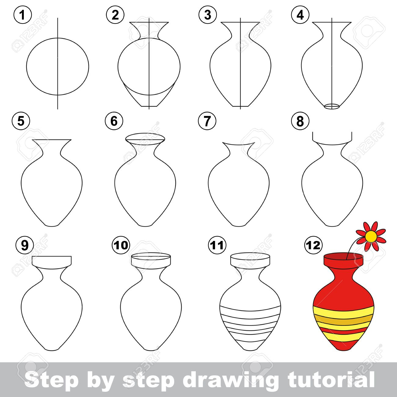 Flower vase how to draw - Drawing Tutorial For Children How To Draw The Vase With Flower Stock Vector 55761343
