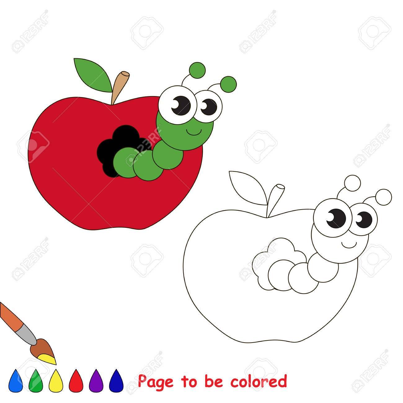 着色することでアップルの虫子供のための塗り絵視覚的なゲームの