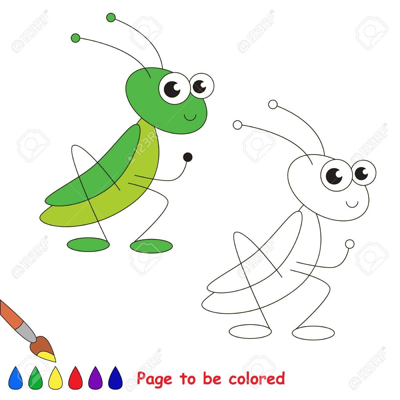El Saltamontes A Ser De Color Libro De Colorante Para Los Niños Juego Visual
