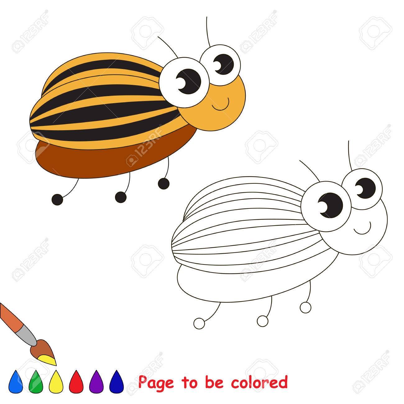Escarabajo De Patata Colorado Lindo Para Ser Coloreado. Libro Para ...