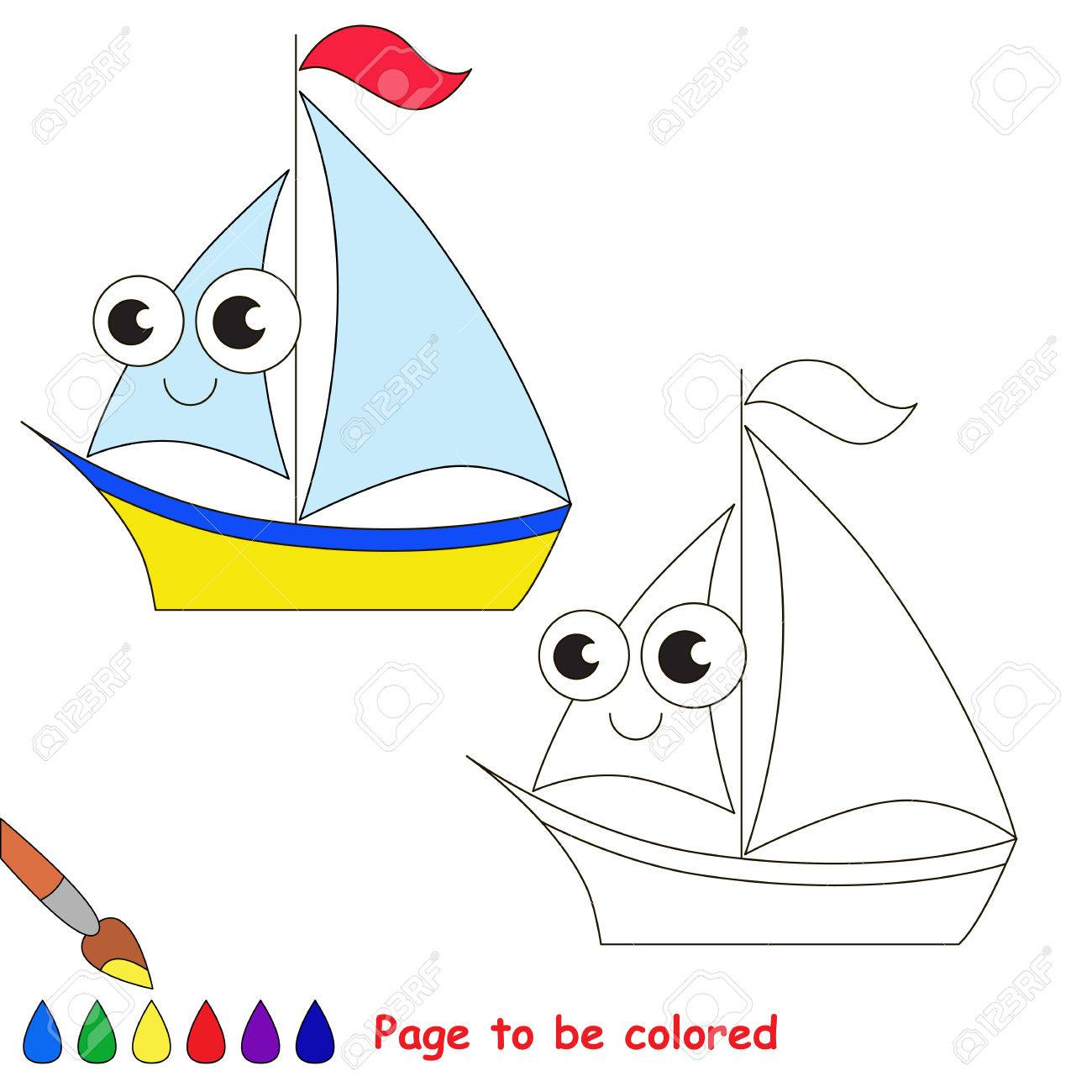 Yellow Boat To Be Colored. Coloring Book To Educate Kids. Learn ...
