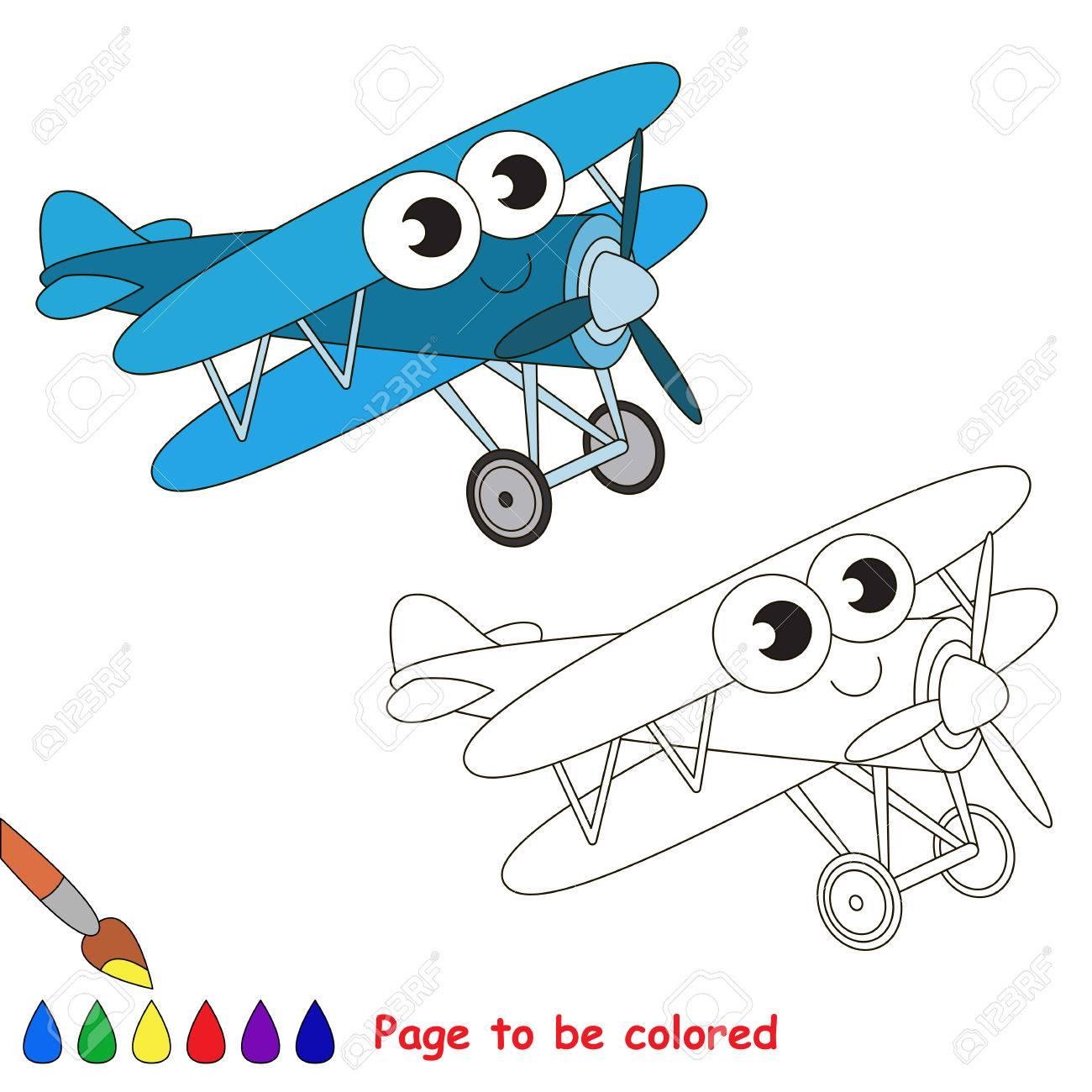 Azul Del Biplano A Ser De Color. Libro De Colorante Para Educar A ...