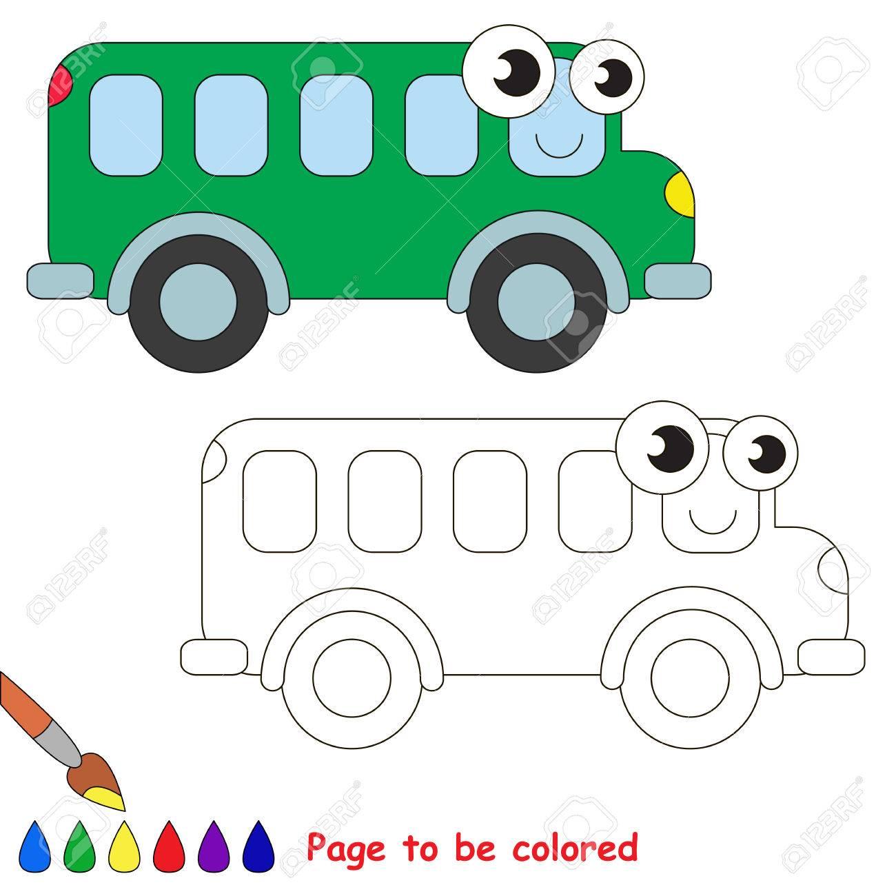 Autobus Verde Al Ser De Color Libro De Colorante Para Educar A Los