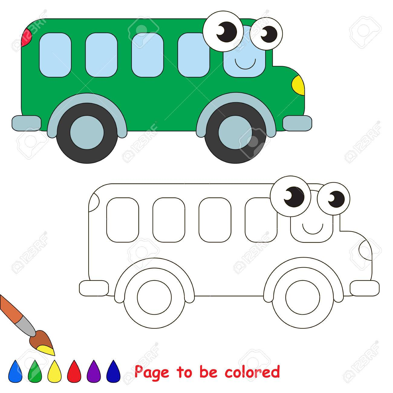 Green Bus To Be Colored. Coloring Book To Educate Kids. Learn ...