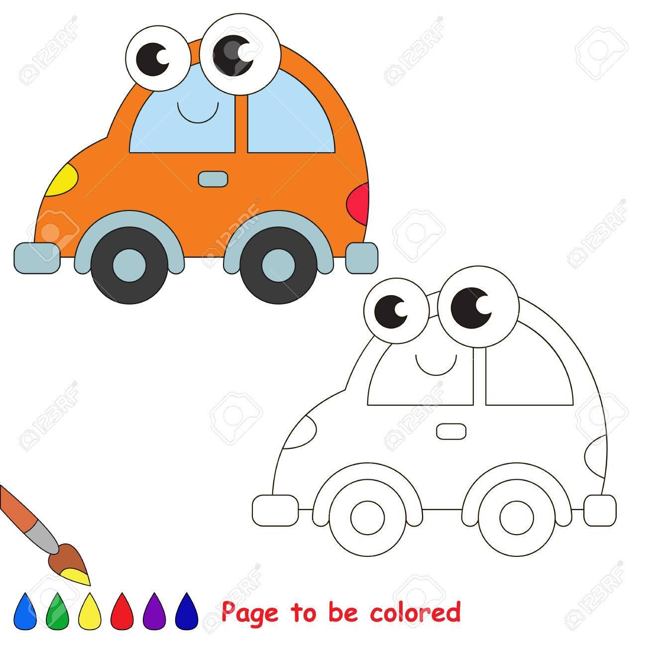 Orange Auto Werden Gefärbt. Malbuch Kinder Zu Erziehen. Erfahren Sie ...