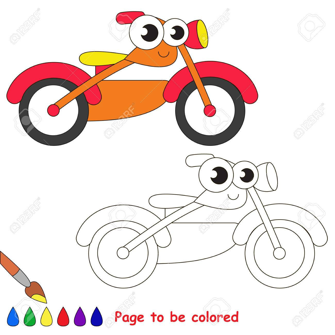 Orange Motor Bike To Be Colored Coloring Book To Educate Kids Royalty Free Cliparts Vectors And Stock Illustration Image 59031899