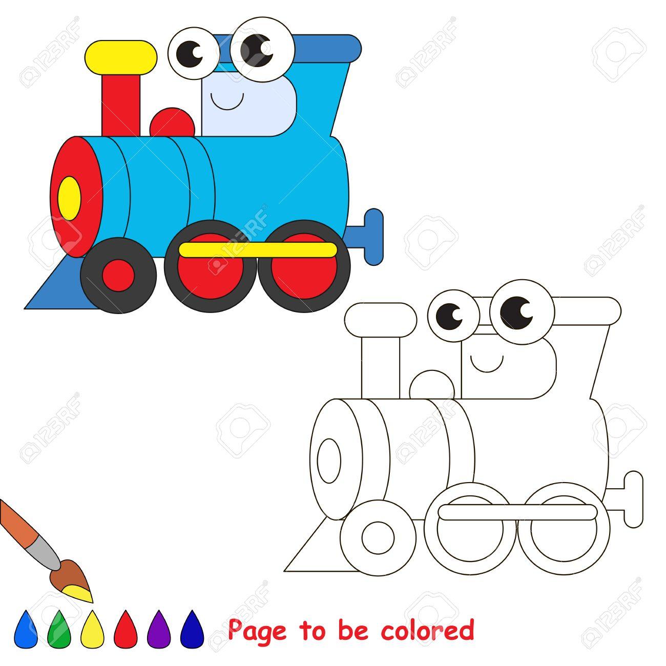 Locomotora Azul Para Colorear. Libro De Colorante Para Educar A Los ...
