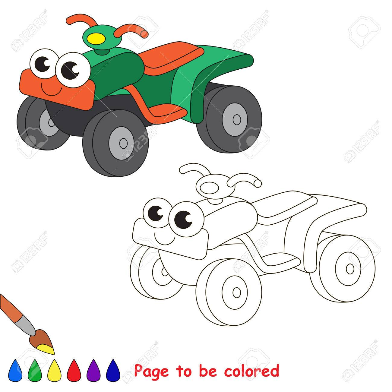 Coloring pages quad bike - Green Quad Bike To Be Colored Coloring Book To Educate Kids Learn Colors