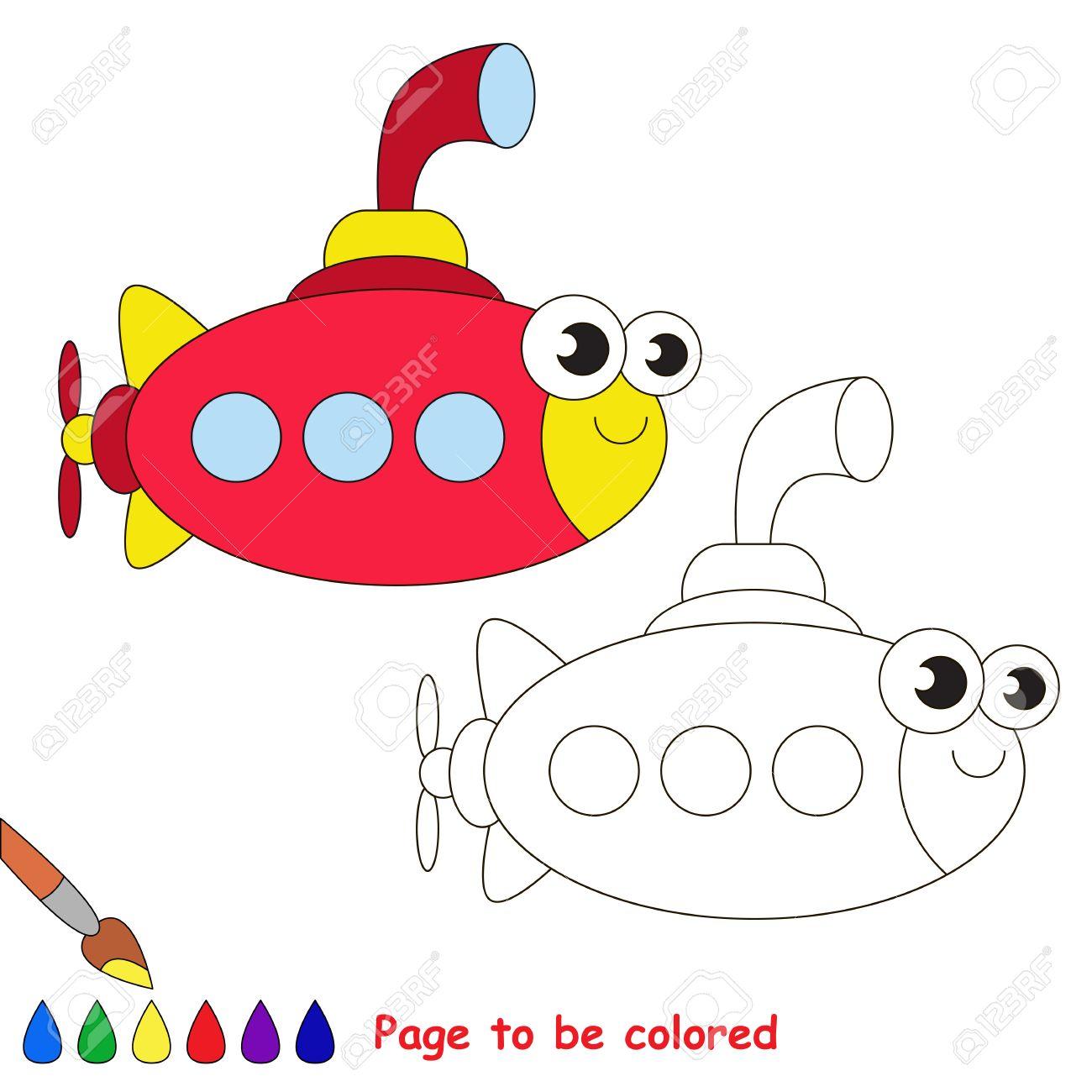 Rote U-Boot Werden Gefärbt. Malbuch Kinder Zu Erziehen. Erfahren Sie ...