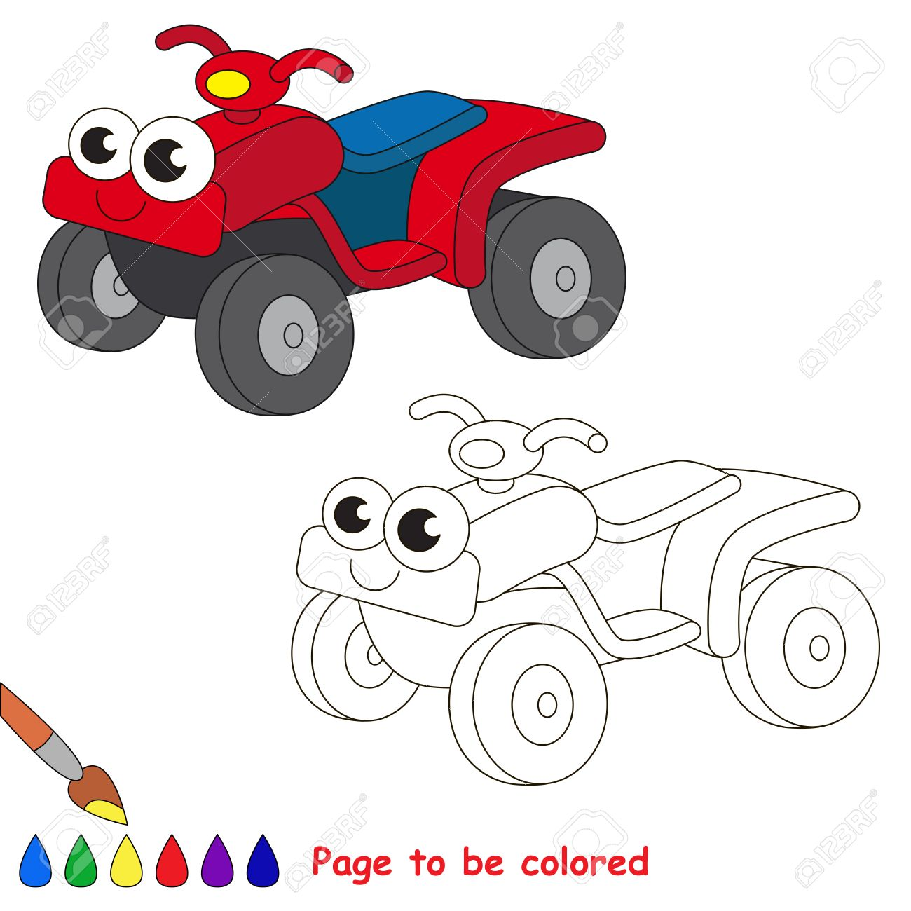Quad Bike To Be Colored. Coloring Book To Educate Kids. Learn ...