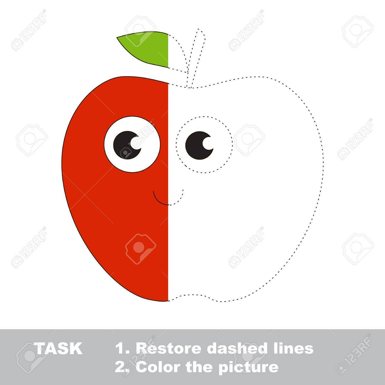Apple In Vektor Zurückverfolgt Werden. Wiederherstellen Gestrichelte ...