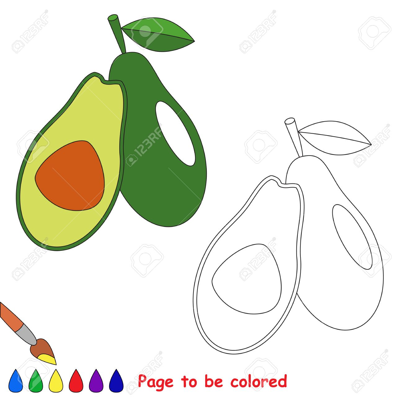 Green Avocado To Be Colored. Coloring Book To Educate Kids. Learn ...