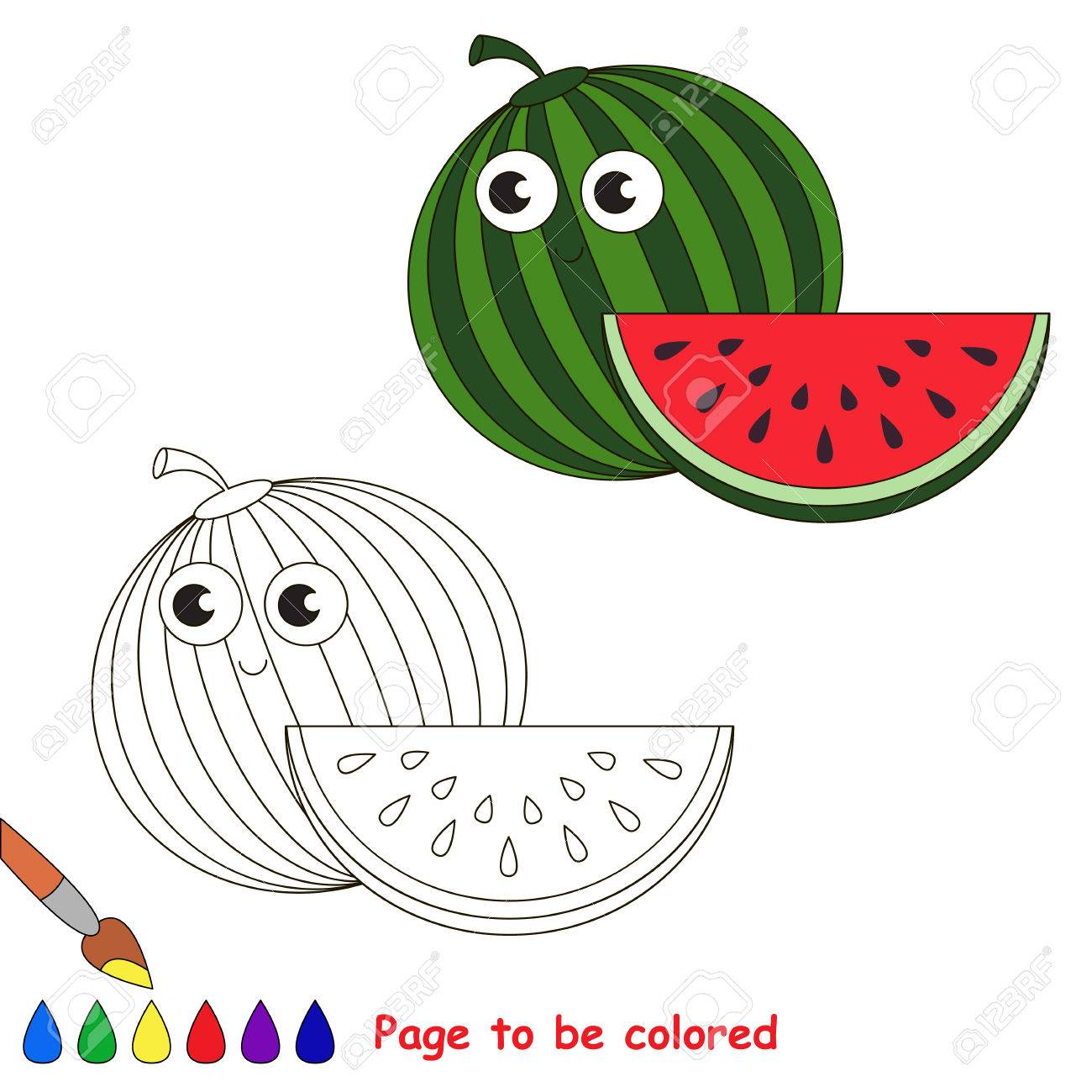 Funny Watermelon To Be Colored. Coloring Book To Educate Kids ...
