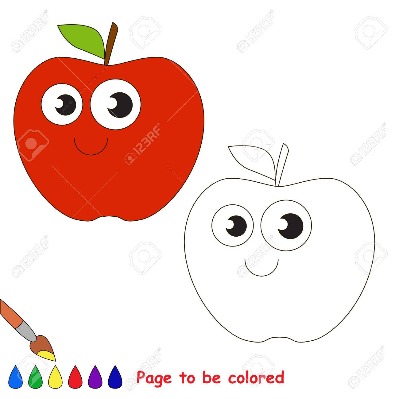 apple to be colored coloring book to educate kids learn colors