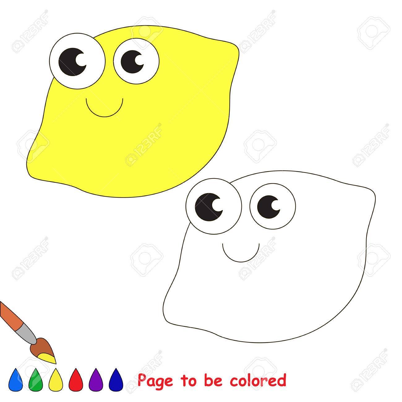 Eine Zitrone Gefarbt Werden Malbuch Kinder Zu Erziehen Erfahren