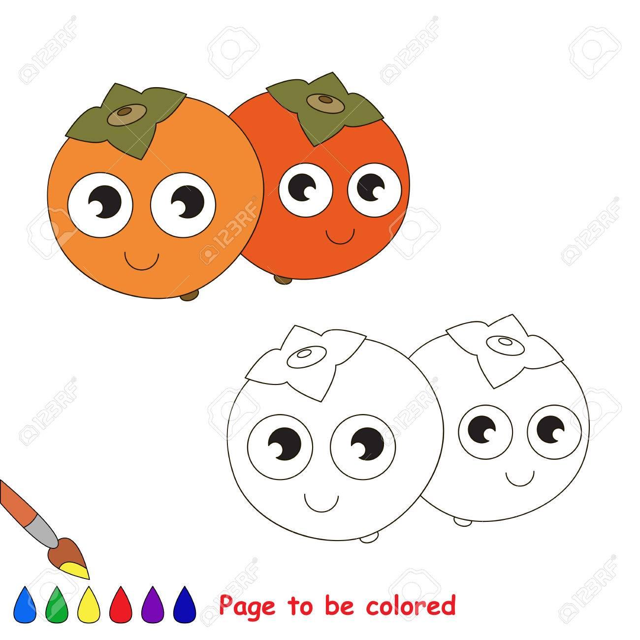 Caqui A Ser De Color Libro De Colorante Para Educar A Los Ninos