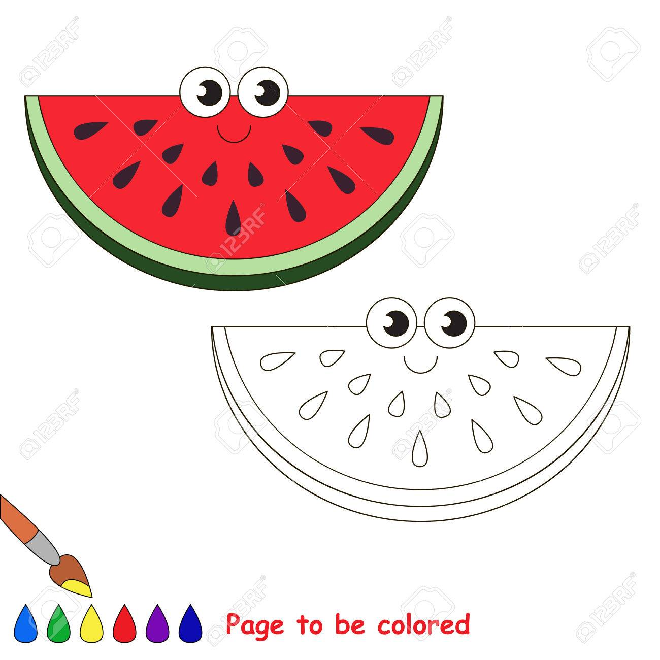 Watermelon Slice To Be Colored. Coloring Book To Educate Kids ...
