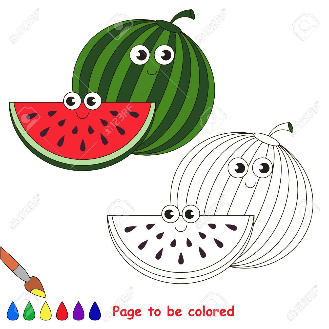 Süße Wassermelone Gefärbt Werden. Malbuch Kinder Zu Erziehen ...