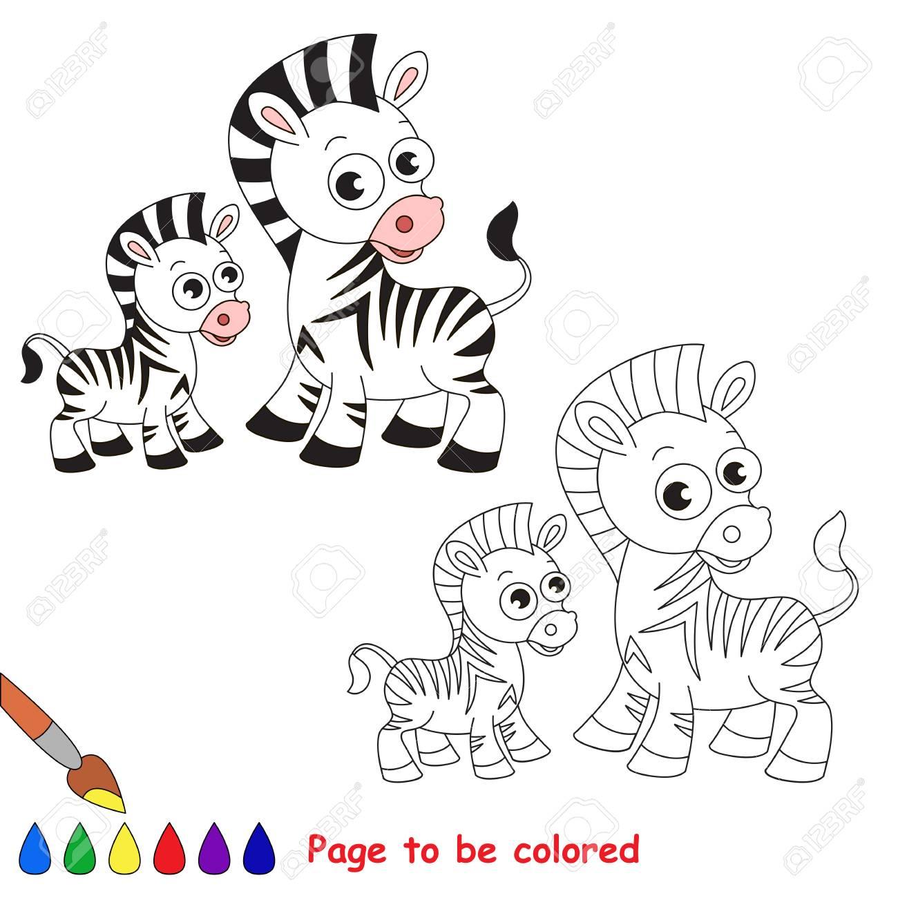 Cebra Y Su Bebé A Ser De Color. Libro De Colorante Para Educar A Los ...