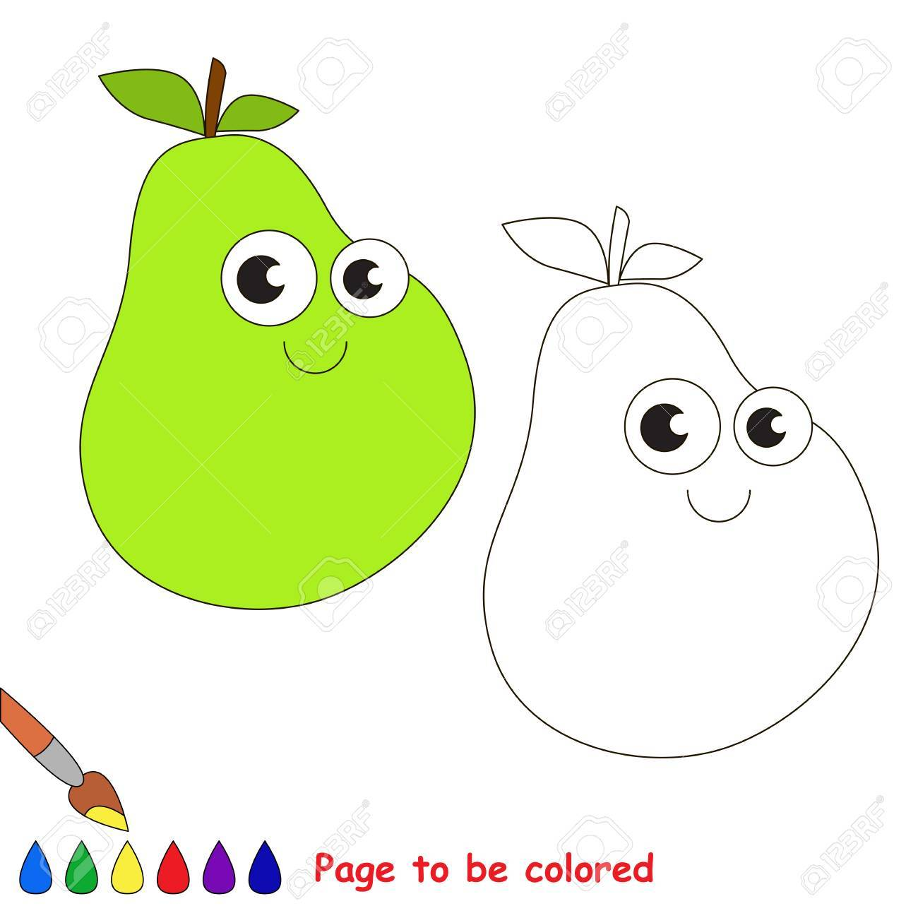 Funny Pear To Be Colored. Coloring Book To Educate Kids. Learn ...