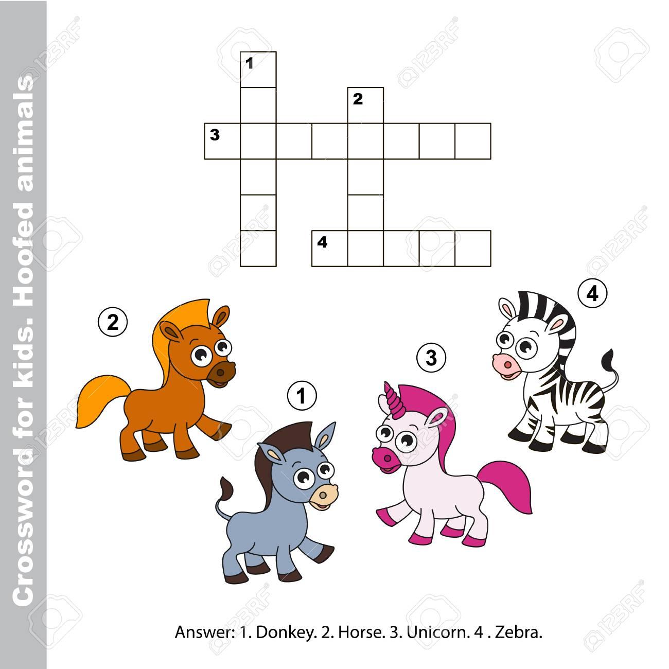 Pferd Und Esel, Zebras Und Einhorn. Die Einfache Ebene. Die Einfache ...