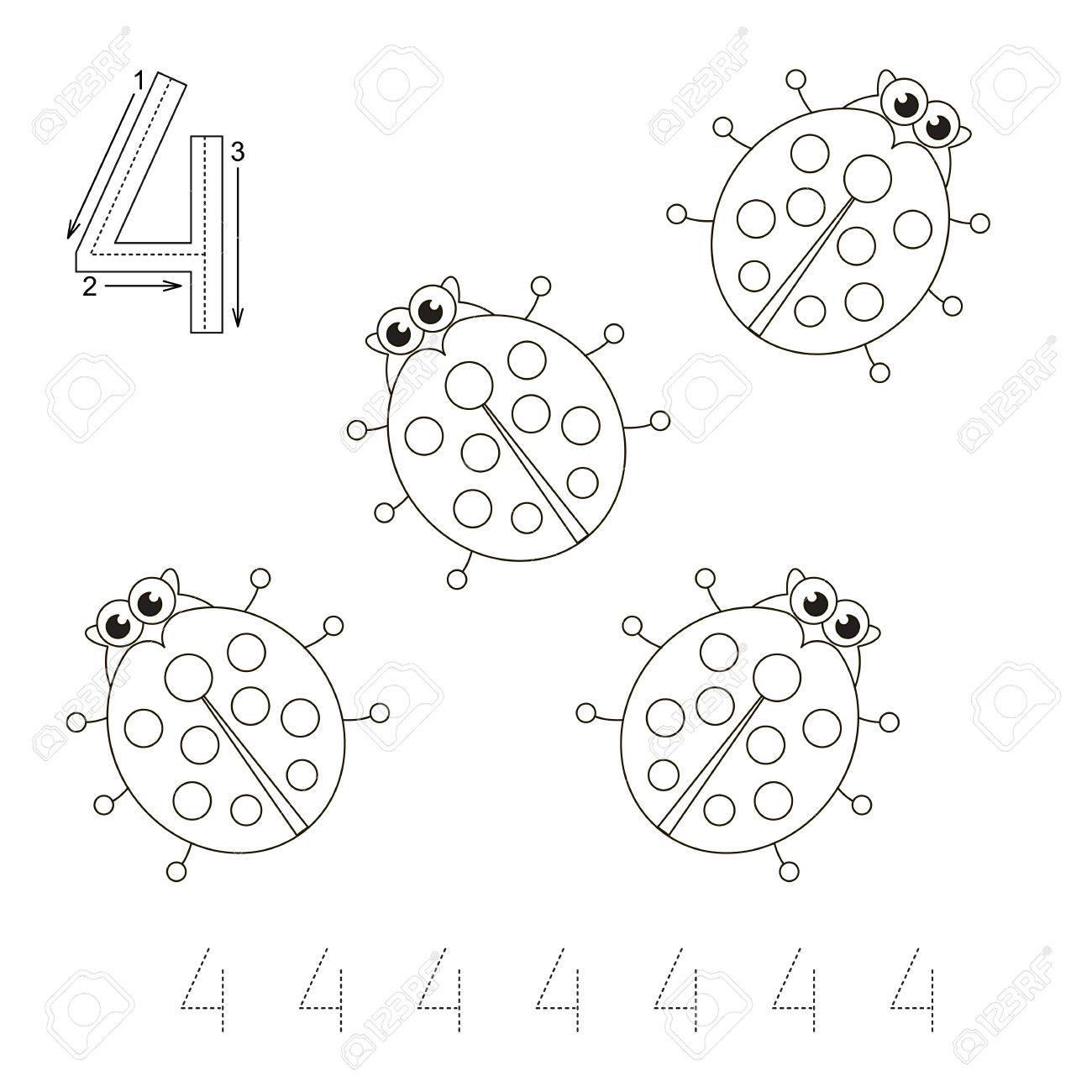 図 4 のゲーム4 つのてんとう虫の色にします塗り絵は子供を教育し