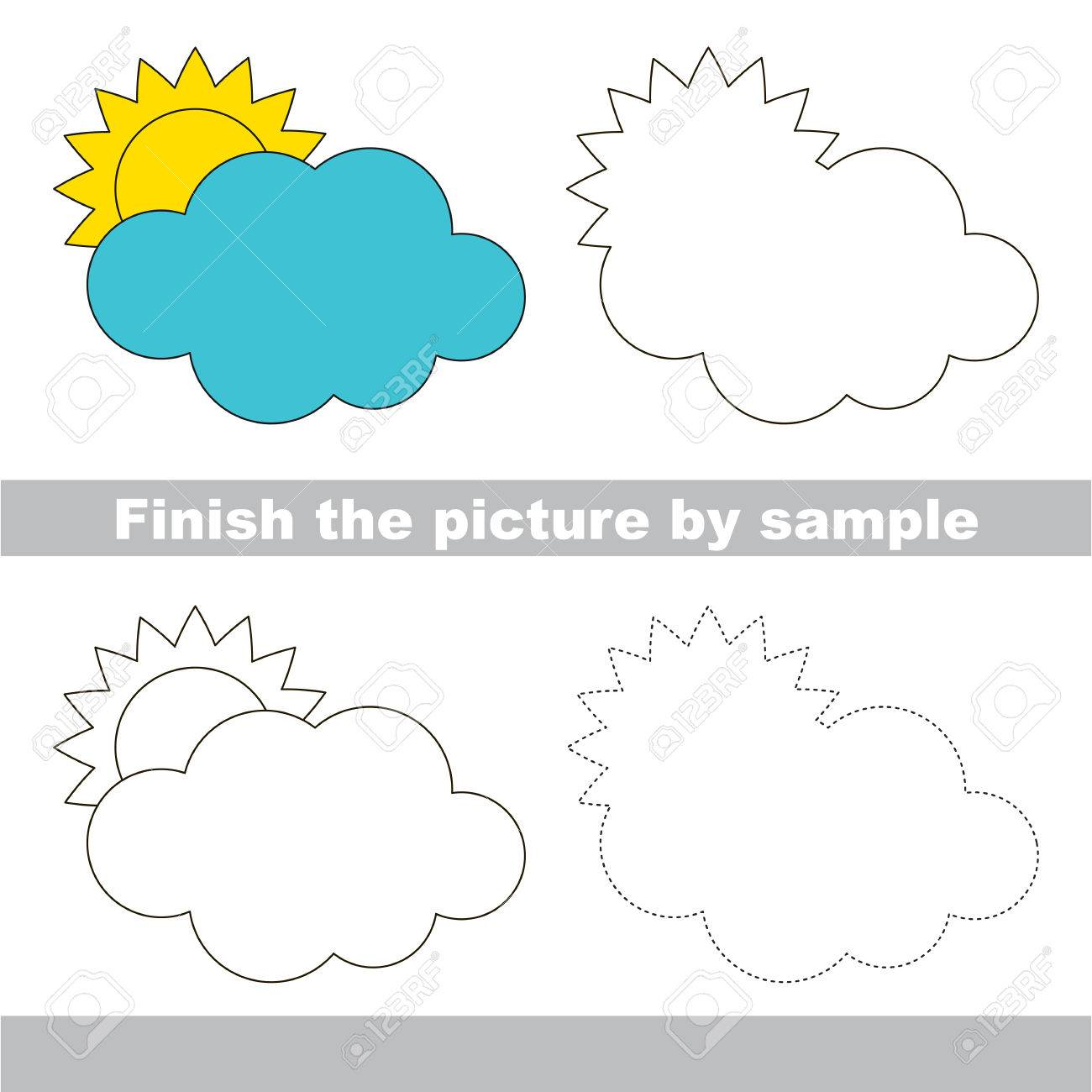 worksheet Cloud Worksheet drawing worksheet for children finish the picture and draw cute cloud stock vector