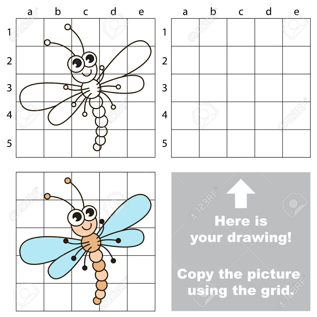 グリッド線を使用して 画像をコピーします 子供のための簡単な教育ゲーム 単純な子供のトンボとゲームの描画します のイラスト素材 ベクタ Image