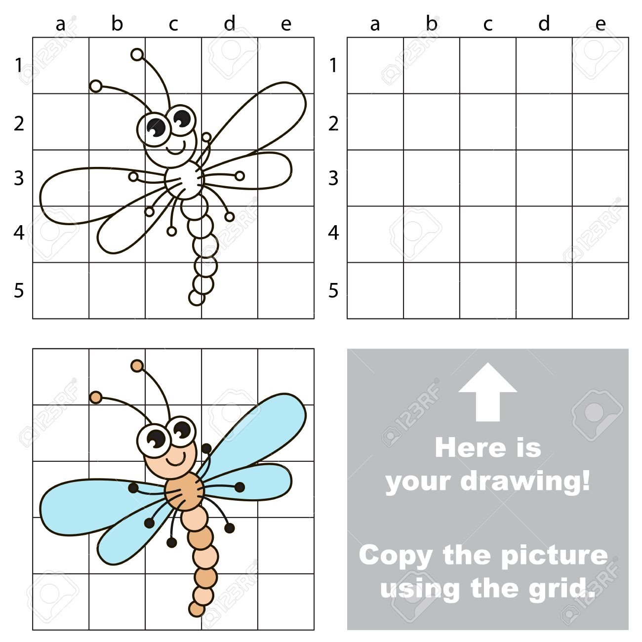Copiar La Imagen Con Líneas De La Cuadrícula Fácil Juego Educativo