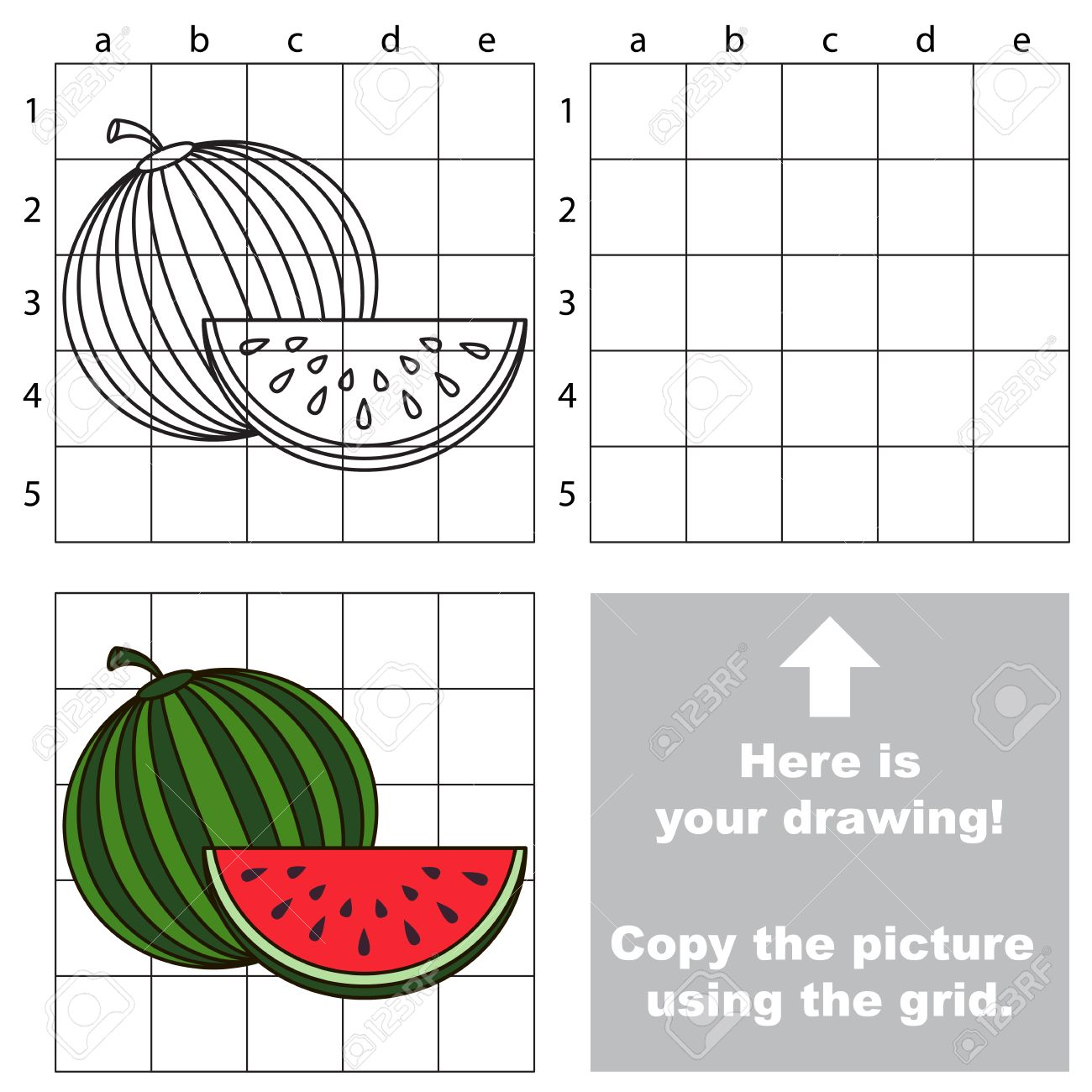 Copy The Picture Using Grid Lines. Easy Educational Game For ... for Watermelon Drawing For Kids  54lyp