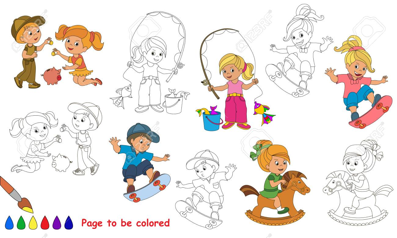 Kid Summer Games To Be Colored Coloring Book Educate Kids Learn Colors