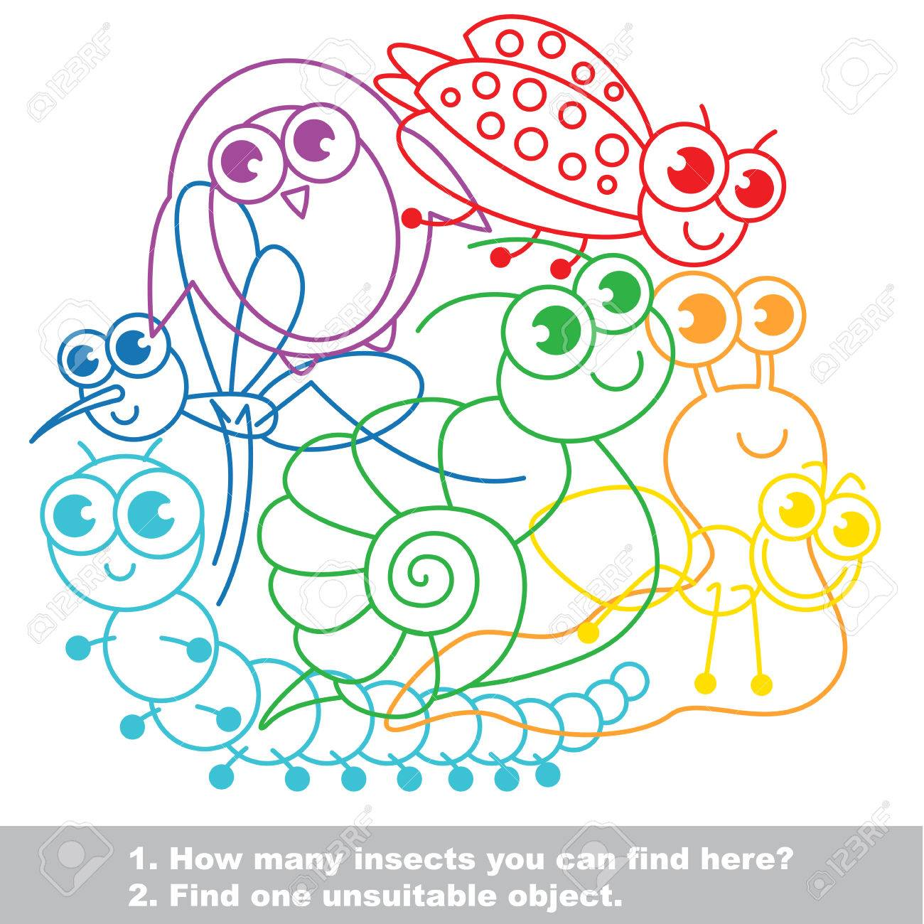 Cute Small Insects The Simple Mishmash Colorful Set In Vector