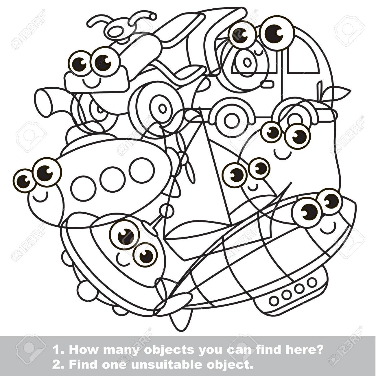Cute Toy Machines Mishmash Set In Vector Outlined To Be Colored