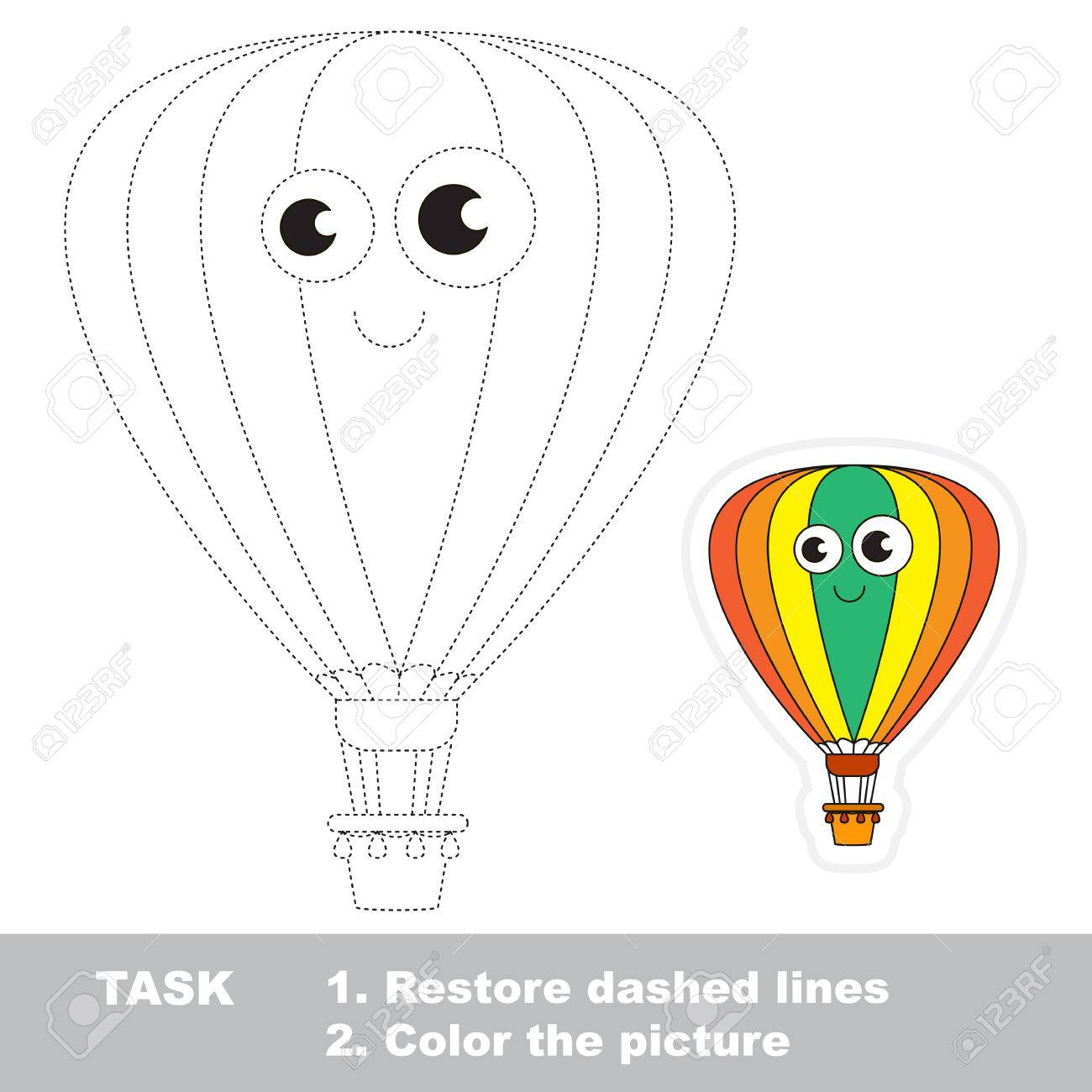 aerostat in vector to be traced easy educational kid game simple level of difficulty - Simple Pictures To Trace
