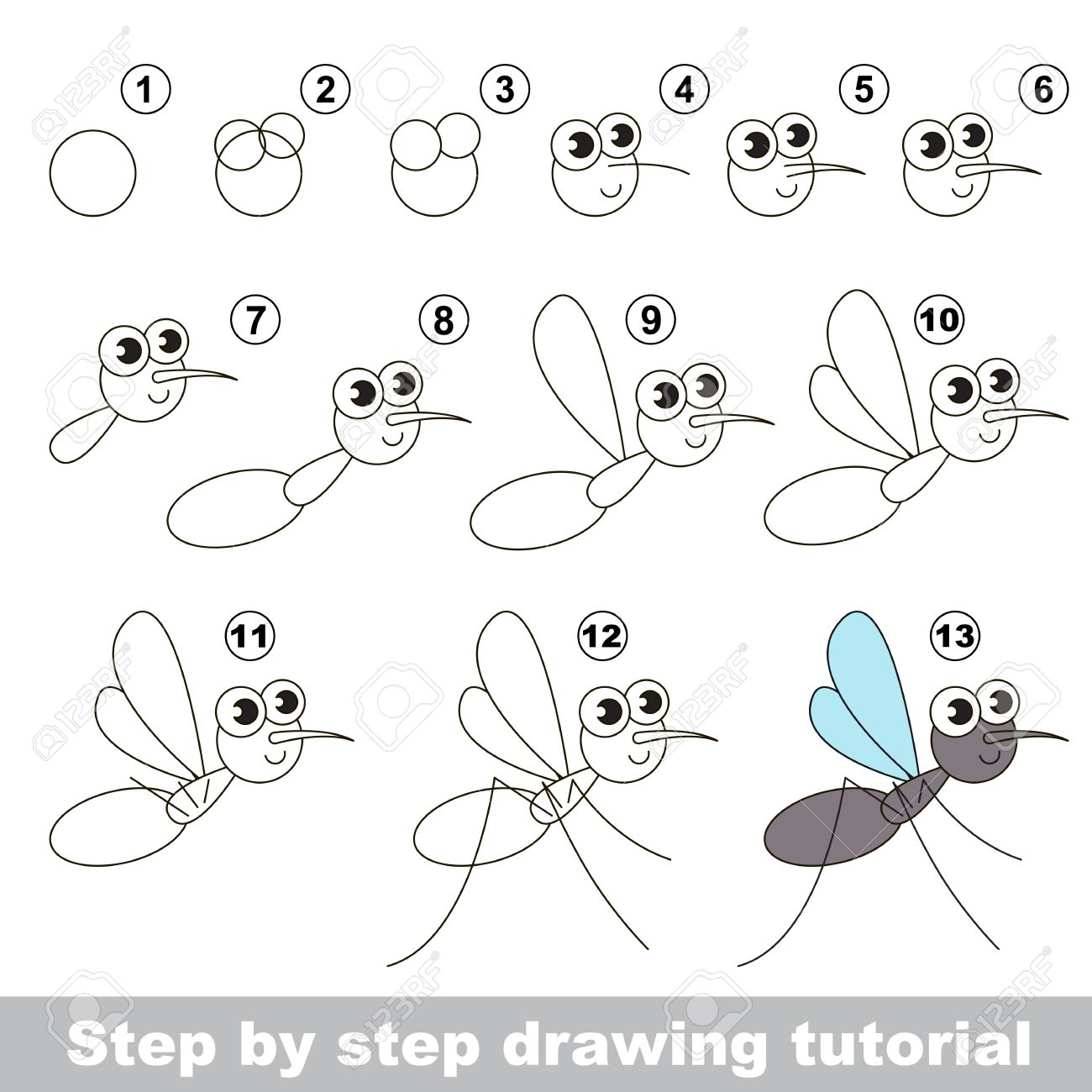 Drawing Tutorial For Children. Easy Educational Kid Game. Simple ...