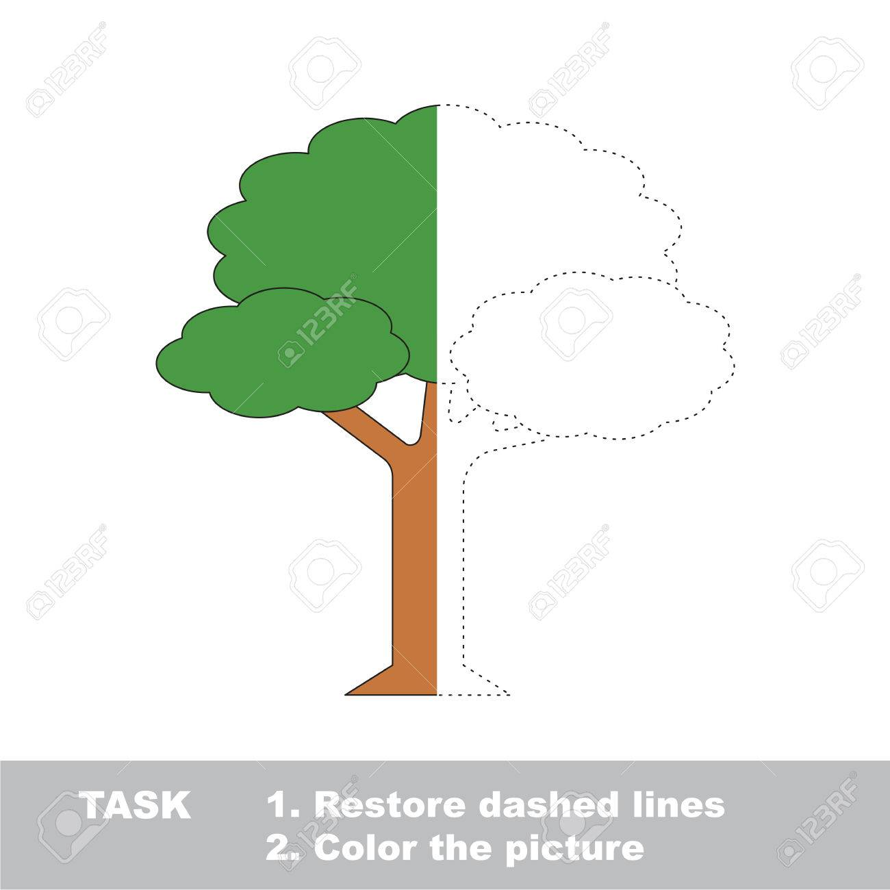Half Tracing Game To Be Colored. Royalty Free Cliparts, Vectors, And ...