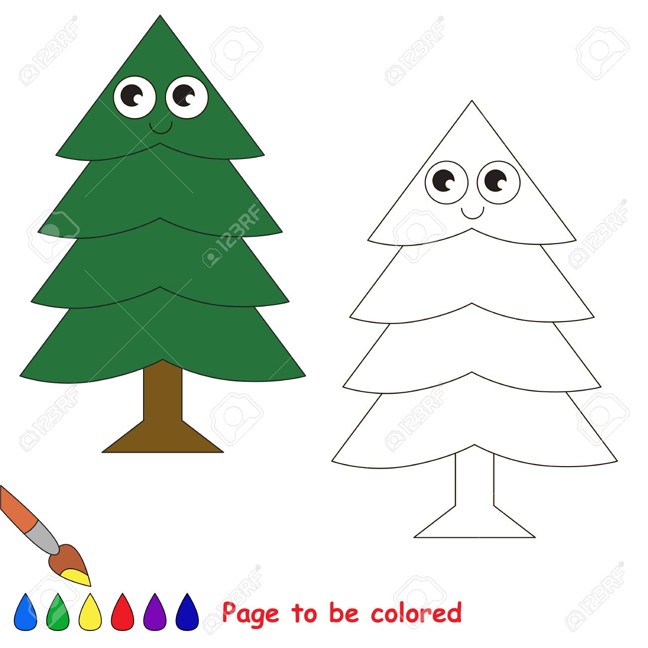 Fur Tree To Be Colored, The Coloring Book To Educate Preschool ...
