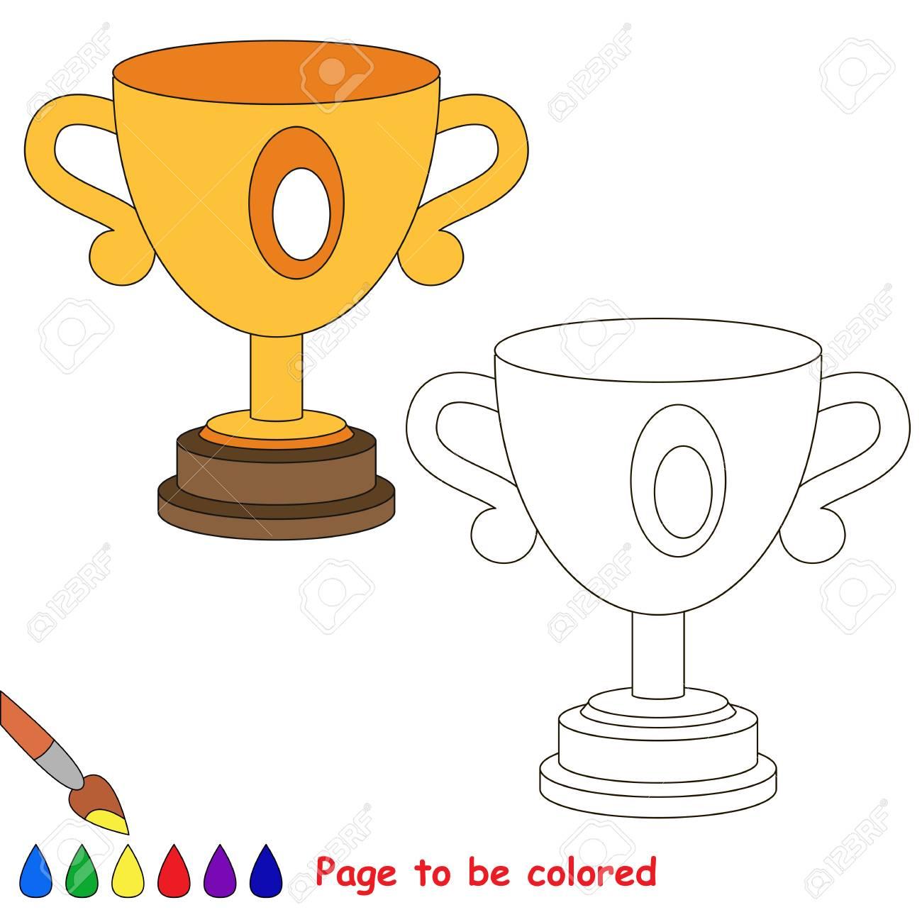 Trofeo De La Copa Para Colorear El Libro Para Colorear Para Educar A Los Niños En Edad Preescolar Con Juegos Educativos Fáciles Para Niños Y