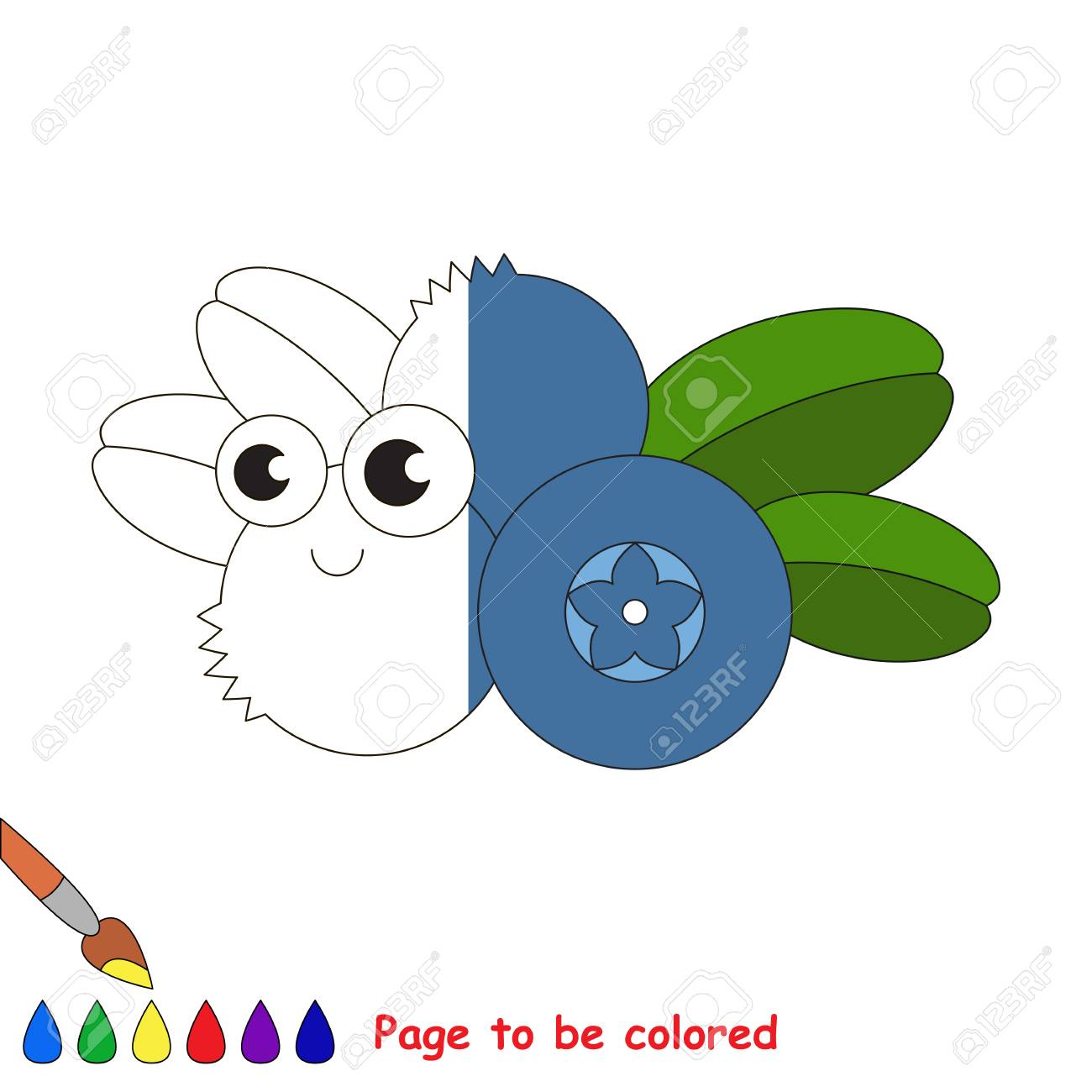 Blueberry To Be Colored, The Coloring Book To Educate Preschool ...