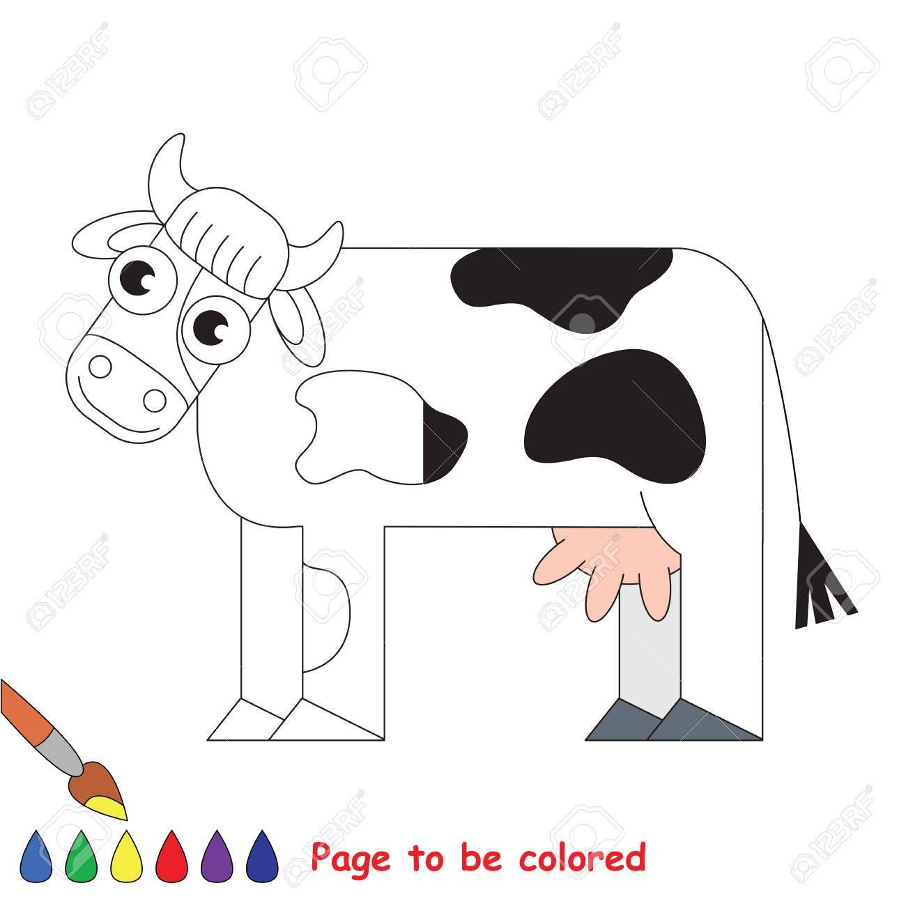 Vaca Para Ser Coloreada El Libro Para Colorear Para Educar A Los Niños En Edad Preescolar Con Juegos Educativos Fáciles Para Niños Y Educación