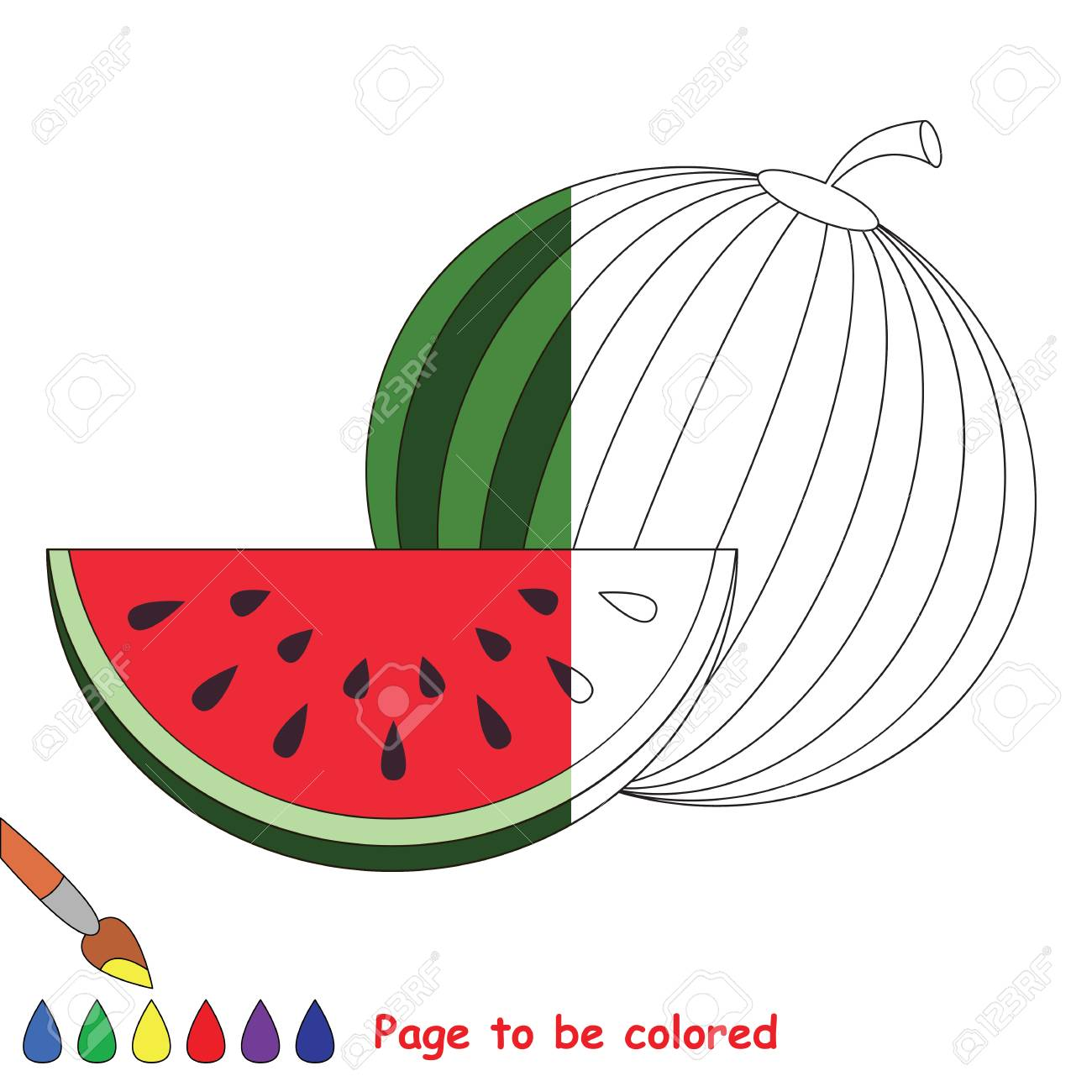 Watermelon And Slice To Be Colored, The Coloring Book To Educate ...