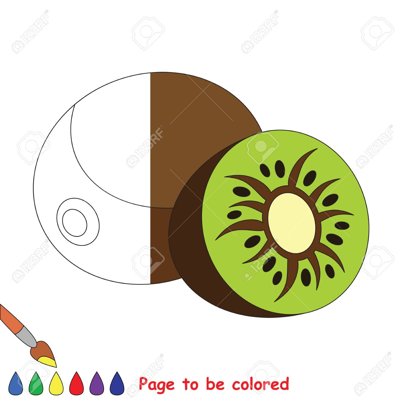 Kiwi To Be Colored, The Coloring Book To Educate Preschool Kids ...